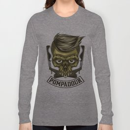 Pompadour, Hair Cut, Men, Skull, Hair Fashion Long Sleeve T-shirt