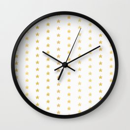 Luxe Gold Tiny Christmas Stars Confetti, Drawn Seamless Vector Pattern Wall Clock