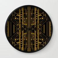 da vinci Wall Clocks featuring Da Vinci Code by CYRUSCOPE
