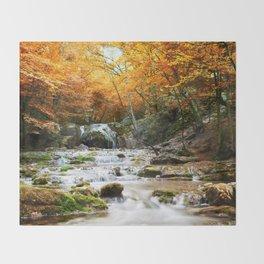 Autumn Forest Waterfall Throw Blanket