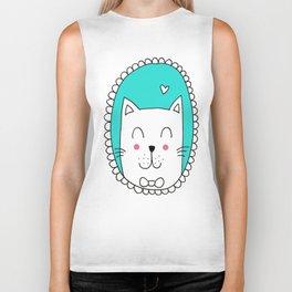 Kitty Cat Carla (Turquoise) Biker Tank