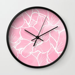 Modern white hand drawn abstrat floral pastel pink watercolor Wall Clock