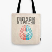 eternal sunshine of the spotless mind Tote Bags featuring Eternal Sunshine of the Spotless Mind - Alternative Movie Poster by Anthony DeCarolis