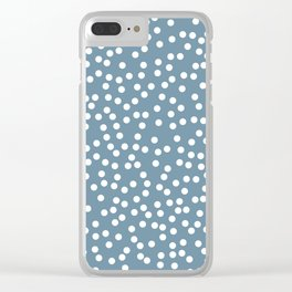 Slate and White Polka Dot Pattern Clear iPhone Case