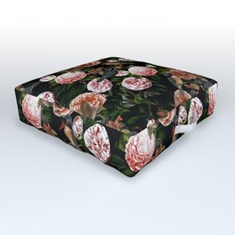 Vintage & Shabby Chic - Blush Camellia & Kingfishers Outdoor Floor Cushion