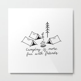 Camping with Friends in Black Metal Print