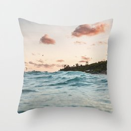 Waves at the sunset Throw Pillow