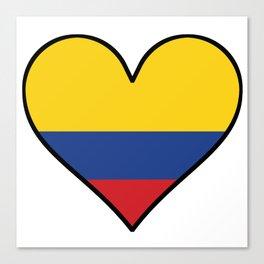 Colombian Flag Heart Canvas Print