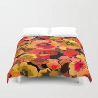 peach Duvet Covers featuring peach  floral by Ariadne