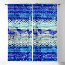 Rustic Navy Blue Coastal Decor Sandpipers Blackout Curtain
