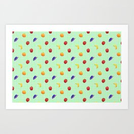 Cute Fruit Green Gingham Art Print
