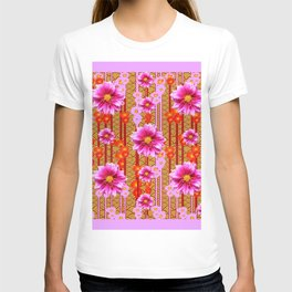 Lilac Purple Dahlia Flowers Orange Abstract Pattern T-shirt