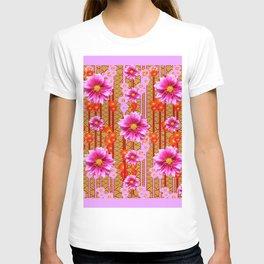 Lilac Purple Dahlia Flowers Orange Abstract Pattern T-shirt
