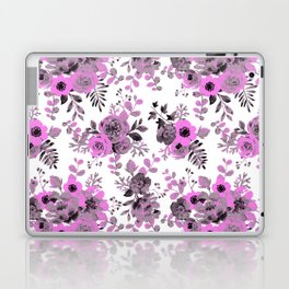 Abstract neon pink gray hand painted watercolor floral pattern Laptop & iPad Skin