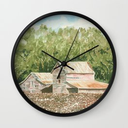 High Cotton–Watercolor Wall Clock
