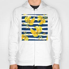 Yellow Flowers Art, Blue And White Stripes, Stripe Art, Simple Art Hoody