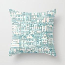 cafe buildings blue Throw Pillow