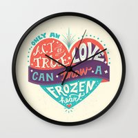 lyrics Wall Clocks featuring Lyrics Love by Pink Berry Patterns
