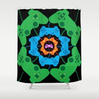gaming Shower Curtains featuring Neon Gaming by Keely Durbin