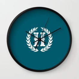 Dark Teal Monogram: Letter H Wall Clock