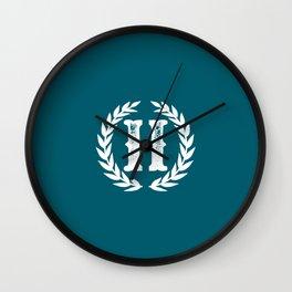 Dark Teal Monogram: Letter H Wall Clock
