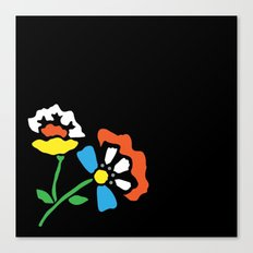 Cutout Flowers on Black Canvas Print