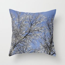 Sparkling Iced Branches Throw Pillow