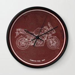 Yamaha FZ6b 2007 art print and motorcycle quote, gift for men Wall Clock