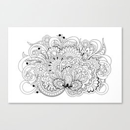 black and white zen tangled composition Canvas Print