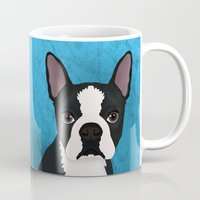 terrier Mugs featuring Boston terrier by Nir P