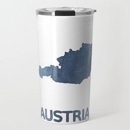 Austria map outline Dark blue clouded watercolor Travel Mug