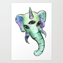 elephant unicorn alien Art Print