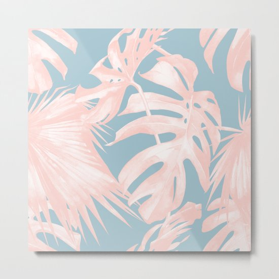 Island Love Millennial Pink on Pale Teal Blue Metal Print