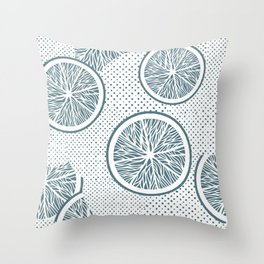 Blue Orange slices and dots seamless pattern, from the Orange Blossom Pattern Collection Throw Pillow