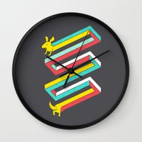 physics Wall Clocks featuring Physics doesn't apply to weiner dogs by Eleanor Lutz