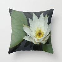 rileigh smirl Throw Pillows featuring Water Lilly by Rileigh Smirl