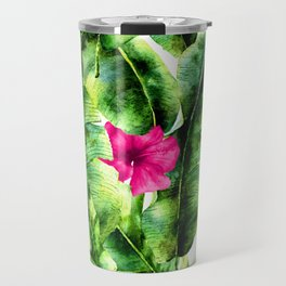 green banana palm leaves and pink flowers Travel Mug