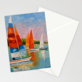 Sailboats on the river Stationery Cards