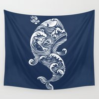 tattoo Wall Tapestries featuring The White Whale  by Peter Kramar