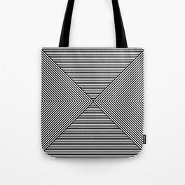 b&w stripes. 1e. hourglass Tote Bag