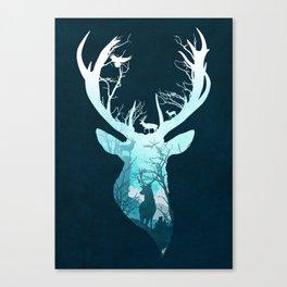 Deer Blue Winter Canvas Print