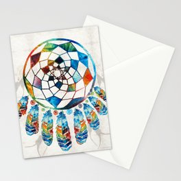 Native American Colorful Dream Catcher by Sharon Cummings Stationery Cards