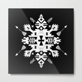 Black and White Ethnic Aztec Ornament Metal Print