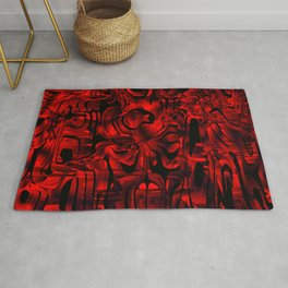 Smooth weaves of mysterious infinity of red lines and a dark square cycle. Rug
