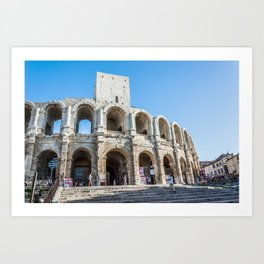 Foreshortening in the historical town of Arles, southern France Art Print