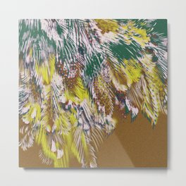 feather texture in yellow and green Metal Print