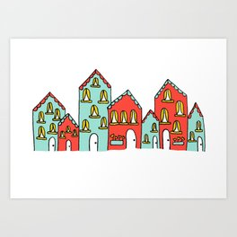 Colorful Little Village of Houses Art Print