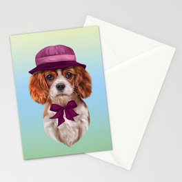Drawing dog breed Cavalier King Charles Spaniel Stationery Cards
