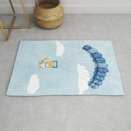 Cutie Parachuting Dog Rug