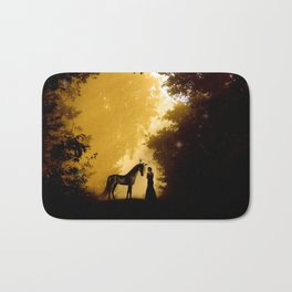 Magical Forest with a Lady and a Unicorn Bath Mat